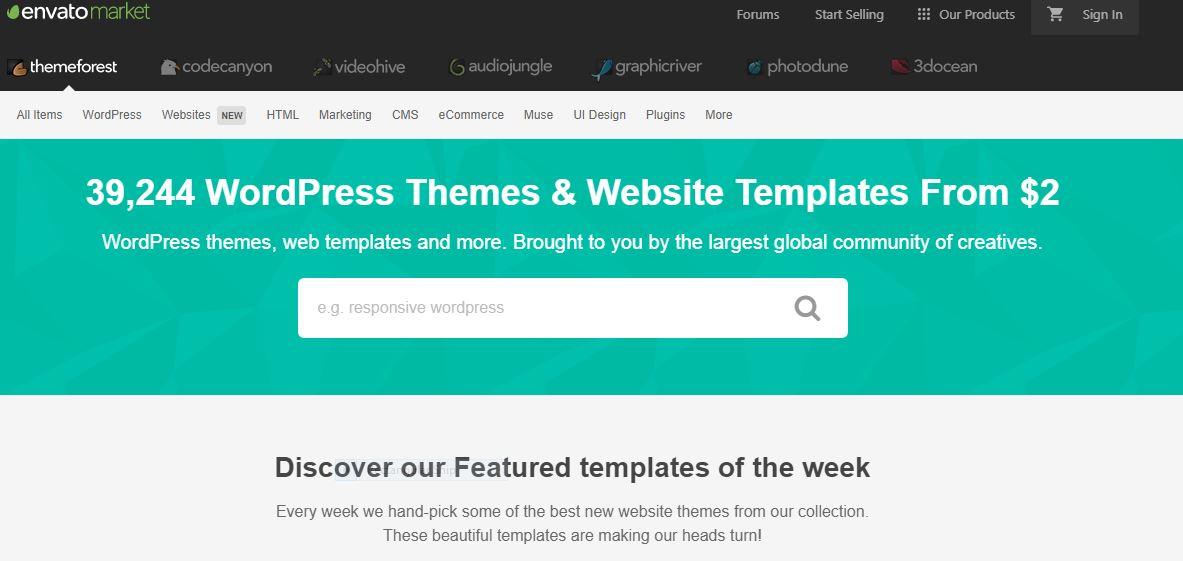 Themeforest wordpress theme site